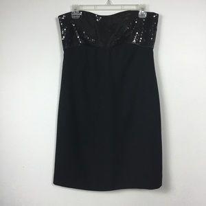 ANN TAYLOR BLACK STRAPLESS SEQUINED DRESS